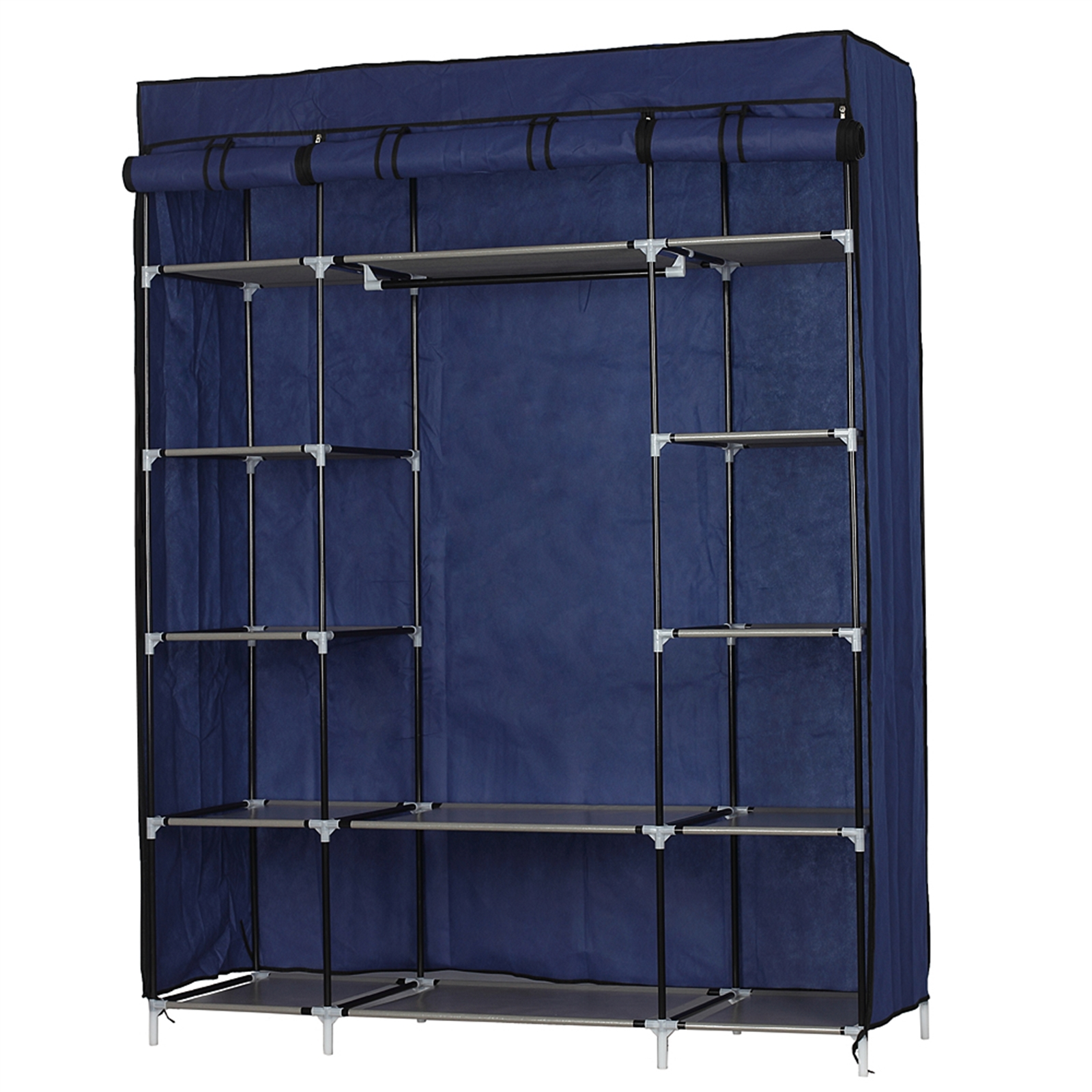 5-Layer 12-Compartment Non-woven Fabric Wardrobe Portable Closet Navy (133x46x170cm)