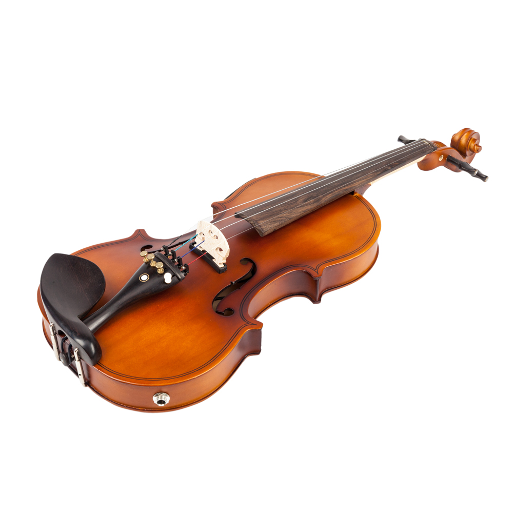 Glarry 4/4 Solid Wood EQ Violin Case Bow Violin Strings Shoulder Rest Electronic Tuner Connecting Wire Cloth Matte