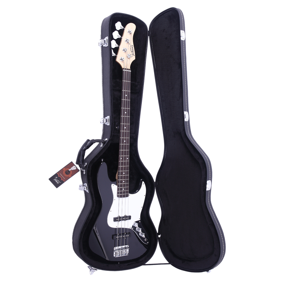 Glarry High Grade Electric Bass Microgroove Hard Case Black