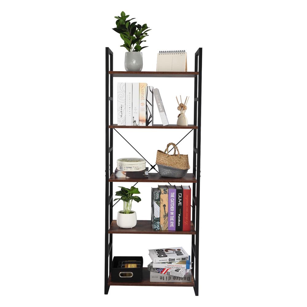 5 Tier Vintage Bookcase Shelf Storage Organizer Wood and Metal Bookshelf Rack