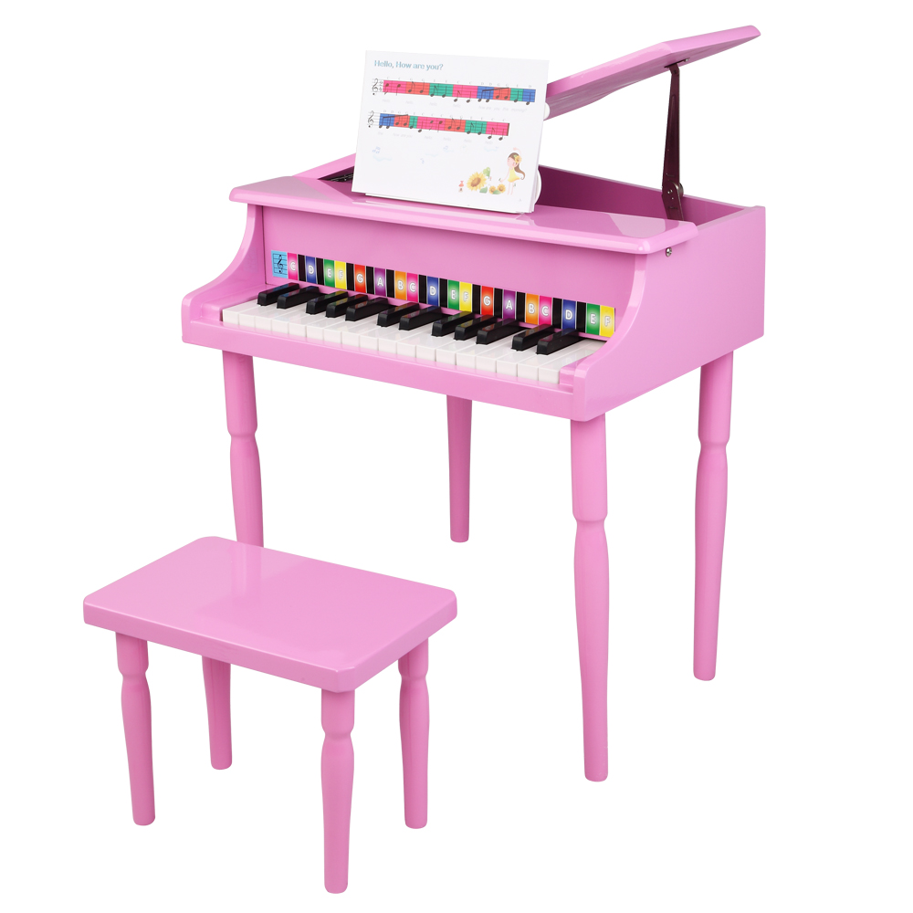 Wooden Toys: 30-key Children's Wooden Piano / Four Feet / with Music Stand, Mechanical Sound Quality,Pink