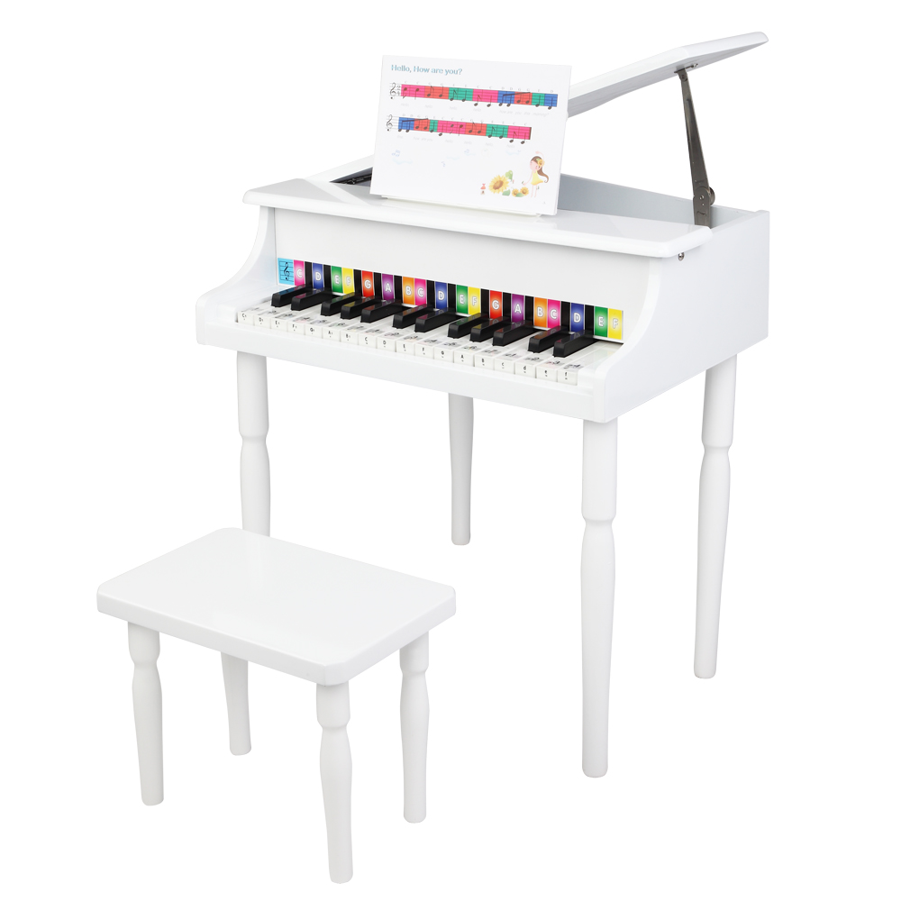 Wooden Toys: 30-key Children's Wooden Piano / Four Feet / with Music Stand, Mechanical Sound Quality,White
