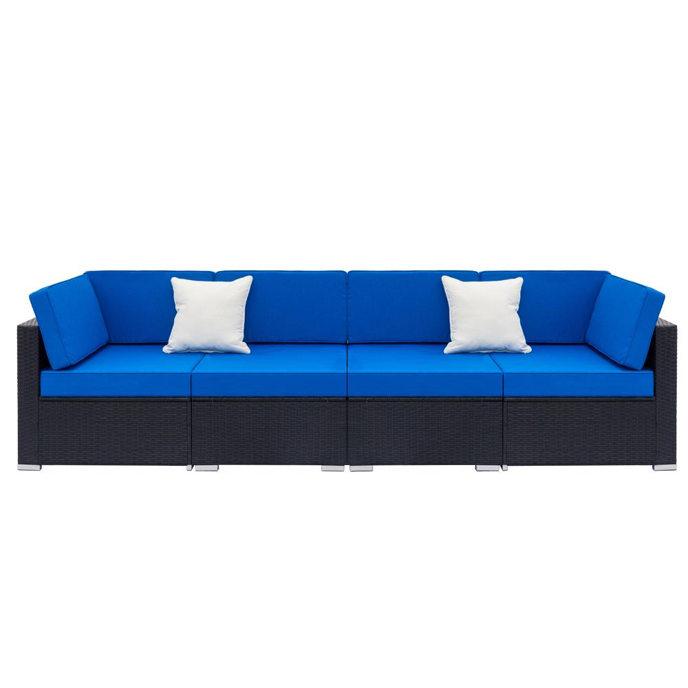 Fully Equipped Weaving Rattan Sofa Set with 2pcs Corner Sofas & 2pcs Single Sofas - Woven Rattan
