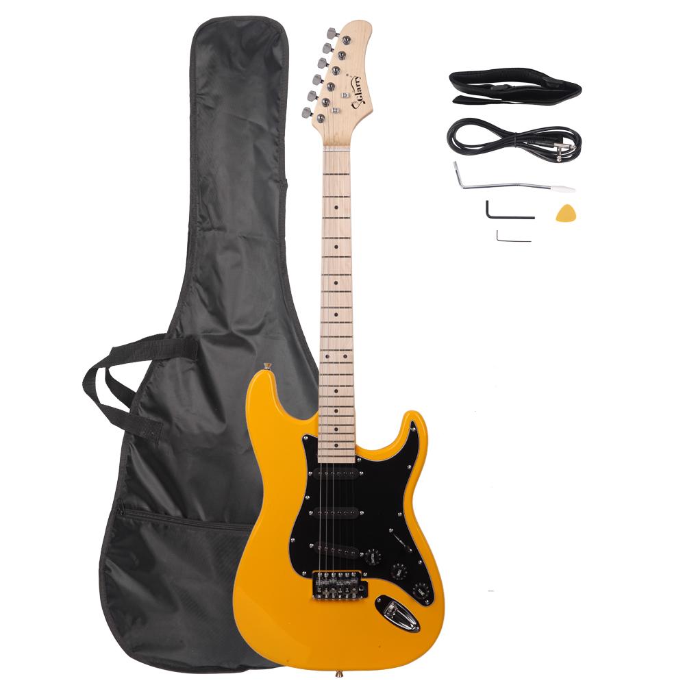 Glarry GST Stylish Electric Guitar Kit with Black Pickguard Orange