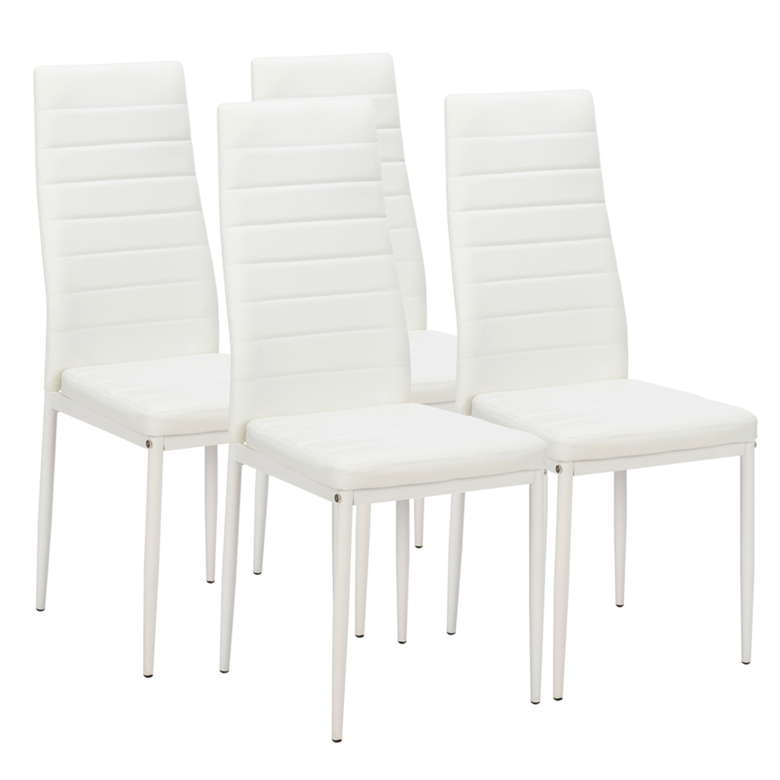 4pcs Elegant Assembled Stripping Texture High Backrest Dining Chairs White