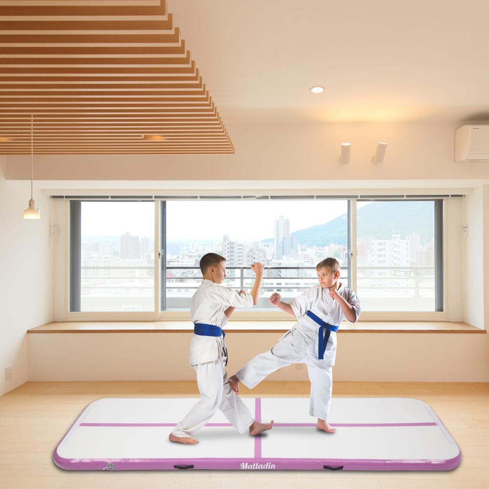 Inflatable Air Track Gymnastics Tumbling Mat Yoga Training Black & Gray